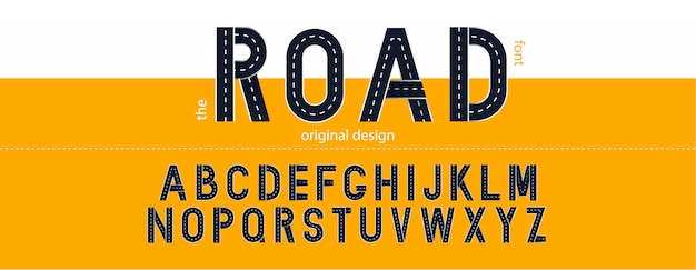 Road font. typography  with street lines.  letters Premium Vector