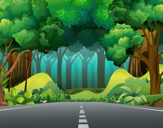 Road to the forest Free Vector