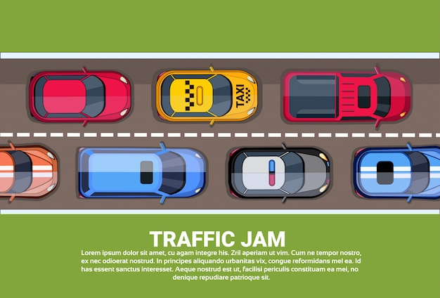 Road full of different cars top angle view of traffic jam on highway Premium Vector