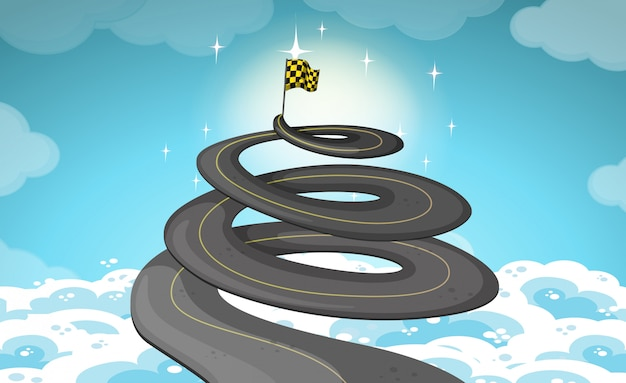 Road goes up in the sky Free Vector