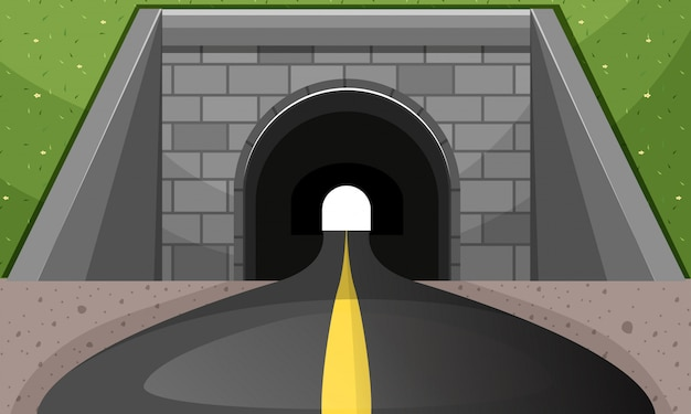 Road going through tunnel Free Vector