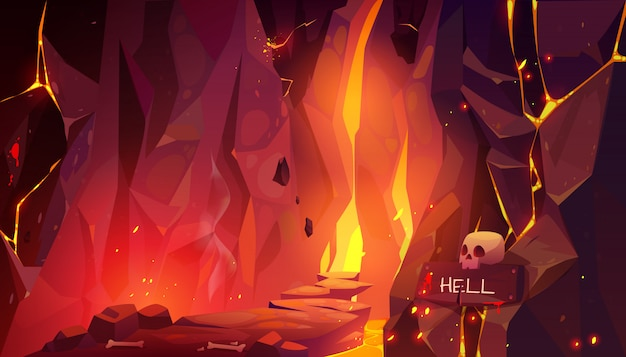 Road to hell, infernal hot cave with lava and fire Free Vector