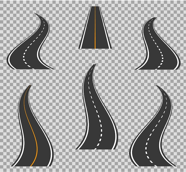 Road icons footpath bending and high ways. road curves geometric design Premium Vector