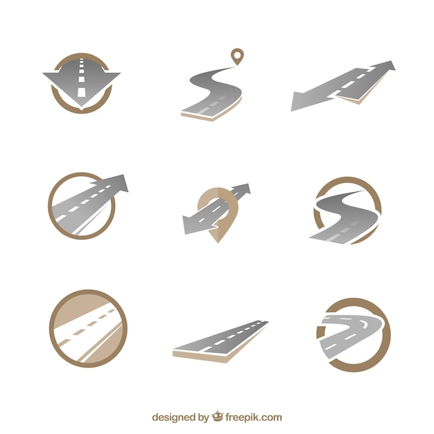Road icons Free Vector