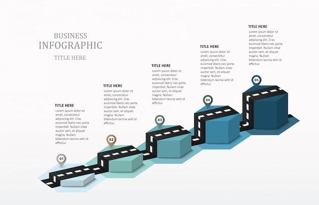Road infographic hexagon 5棒グラフ Premiumベクター