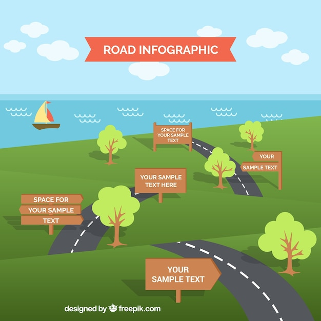 Road Infographic Template Vector Free Download