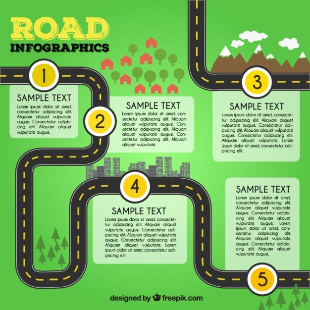 road infographics template vector free download