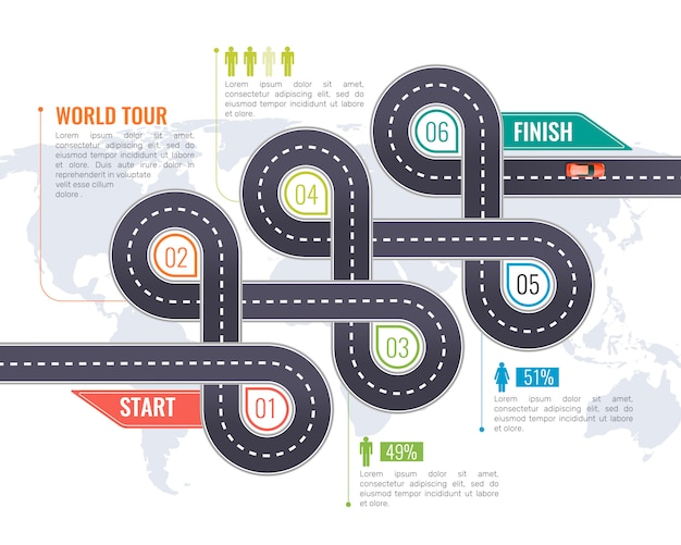 Road infographics Free Vector