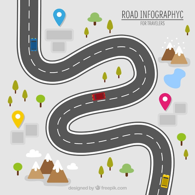 road infography for travelers vector free download road map clip art free roadmap clipart free