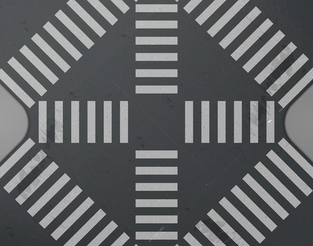 Road intersection with crosswalk top view Free Vector