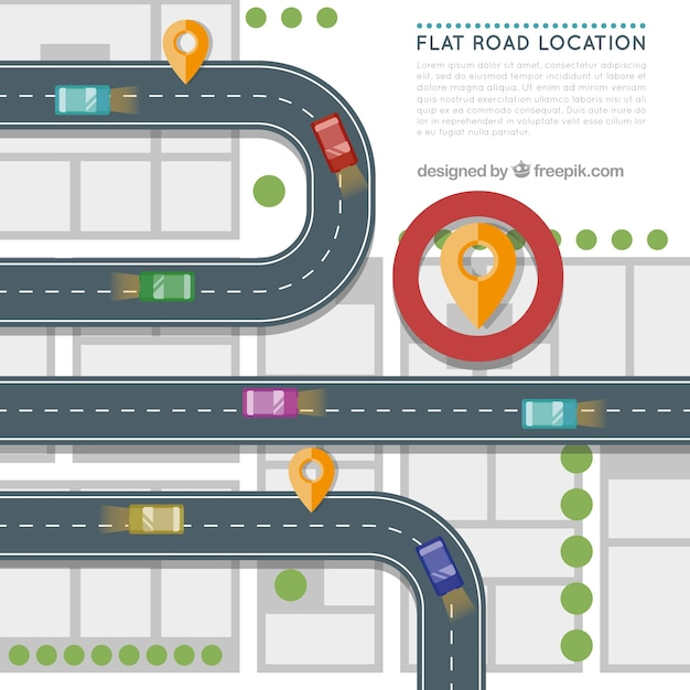 Road location in flat design vector free download for Location design