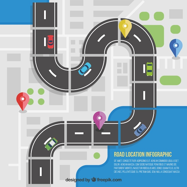 road location infographic vector free download
