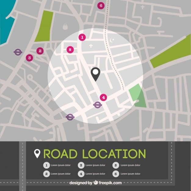 Road location map in top view Free Vector