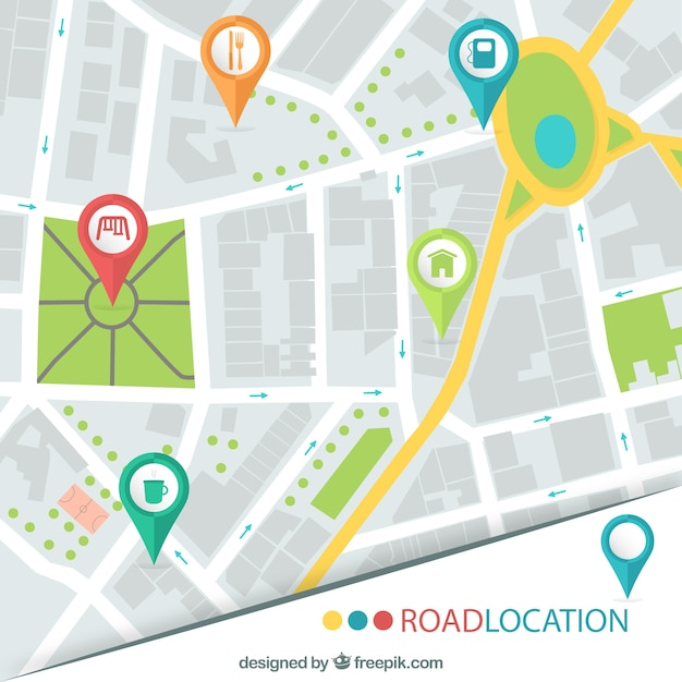 road location map vector free download