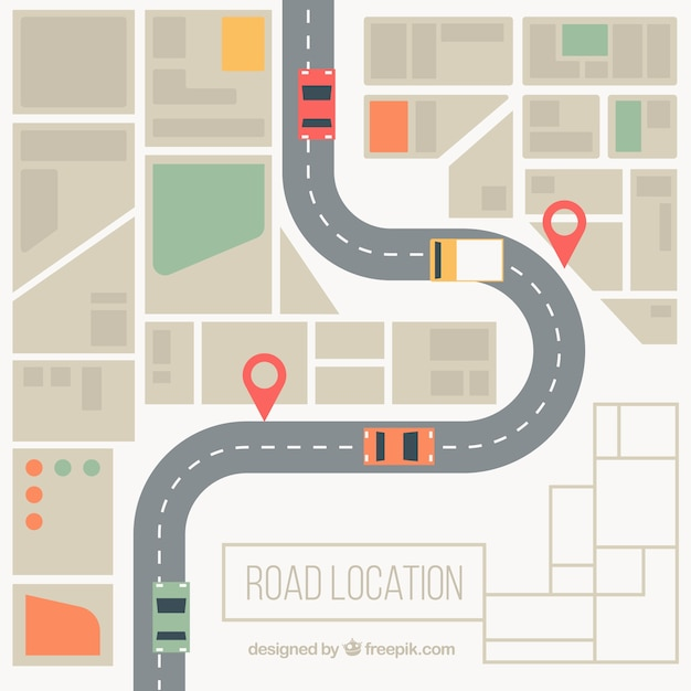 Road map background in desaturated colors Free Vector