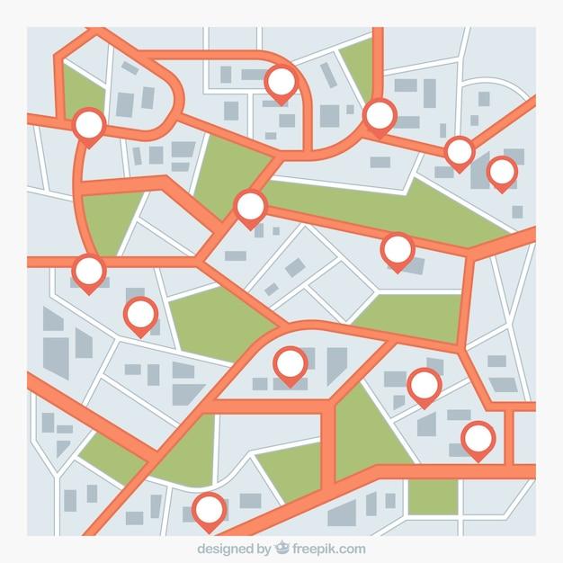 Дорожная карта с указателями Бесплатные векторы
