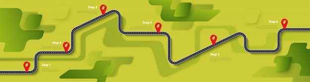 Road map and journey route infographics template Premium Vector