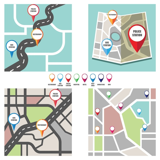 Road map with colorful pin pointer to important public area Free Vector