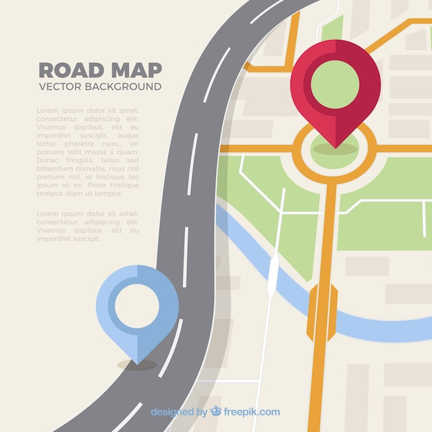 Road map with pointers in flat style Free Vector