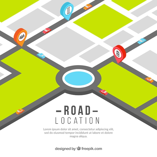 road map with pointers free vector