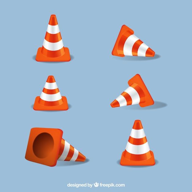 Road orange cone set Free Vector