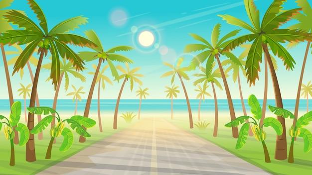 Дорога через тропический остров с пальмами к океану. тропического острова Premium векторы