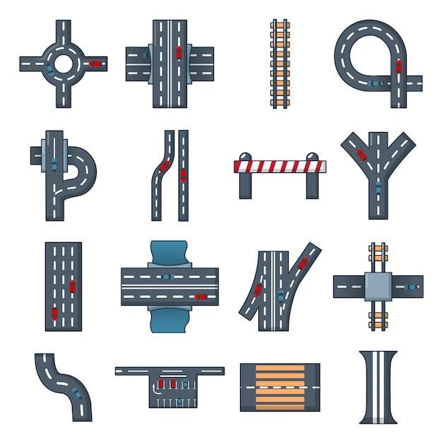 Road parts constructor icons set Premium Vector
