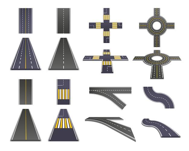 Road parts perspective set Free Vector