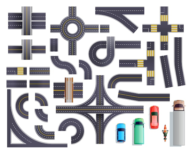 Road parts vehicles set Free Vector