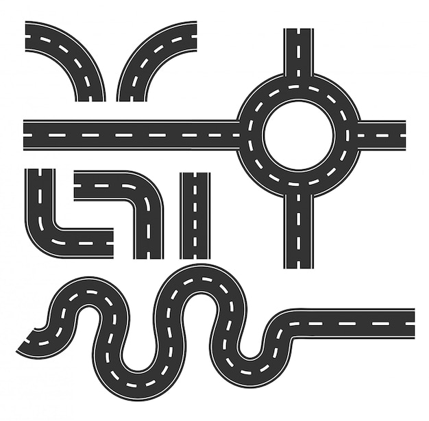 Road pattern set, curve for mapping travel infographic concept. Premium Vector