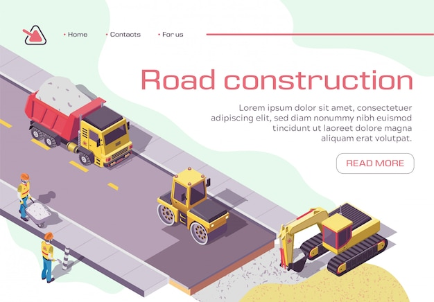 Road repair and construction with heavy machines and working people Premium Vector