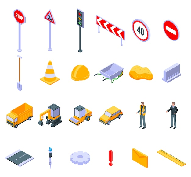Road repair icons set, isometric style Premium Vector