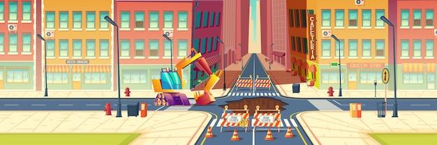 Road repair, maintenance works, underground pipeline replacement on city street cartoon Free Vector