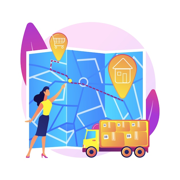 Road route choice, way selection, departure and destination points. getting direction, guide, navigator application. woman with city map cartoon character . Free Vector
