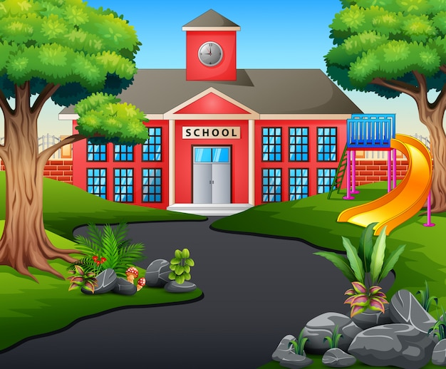 A road scene toward school building with slide Premium Vector
