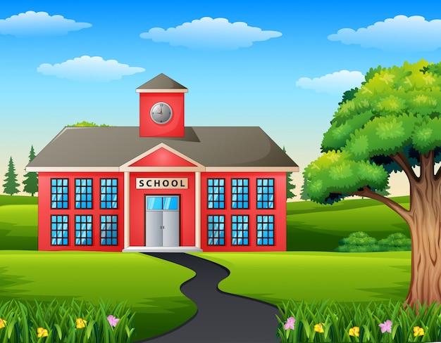 ¡road scene toward school building Premium Vector