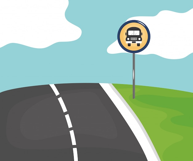Road scene with stop bus signal Free Vector