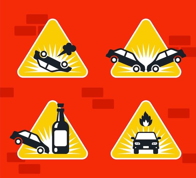 Дорожный знак автомобильная авария на трассе. иллюстрация. Premium векторы