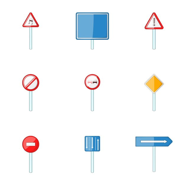 Набор иконок дорожный знак, мультяшном стиле Premium векторы