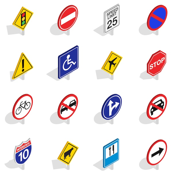 Road sign icons set in isometric 3d style isolated on white background Premium Vector