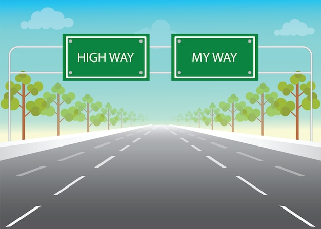 Road sign with my way and high way words Premium Vector