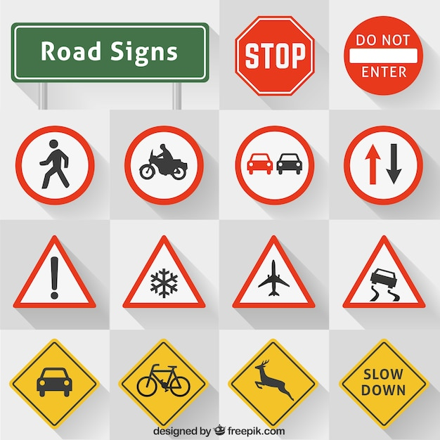 Road Signs Collection Free Vector