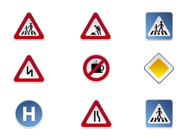 Road signs icon collection Free Vector