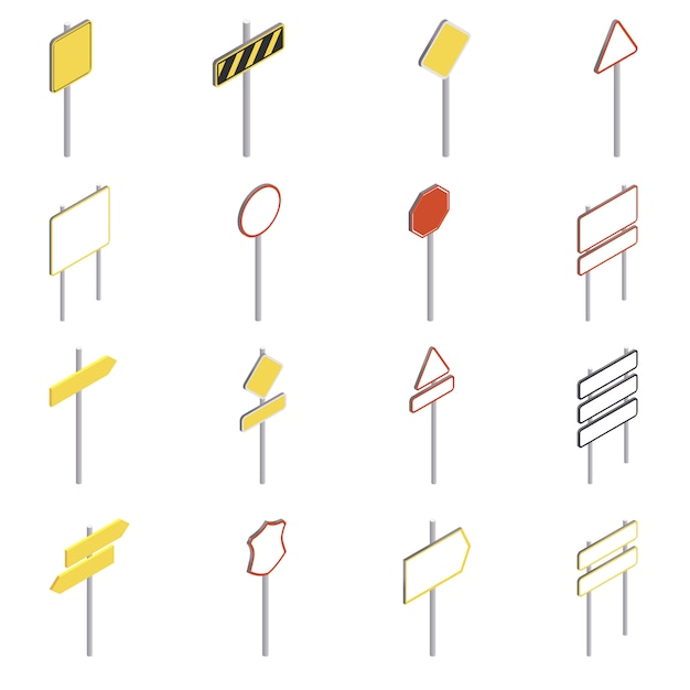 Road signs icons set. isometric illustration of 16 road signs icons for web Premium Vector