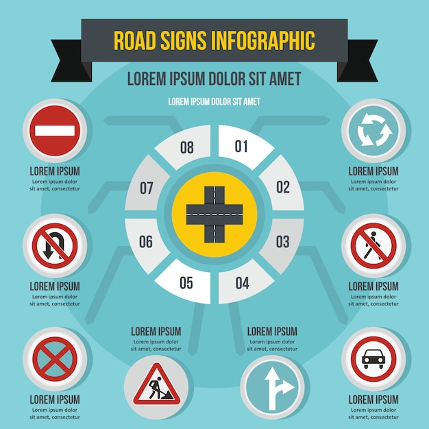 Road signs infographic concept, flat style Premium Vector