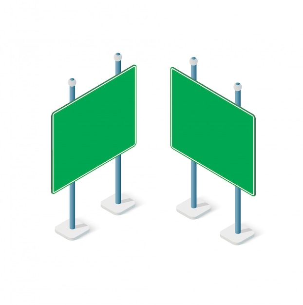 Road signs isometric set street object Premium Vector