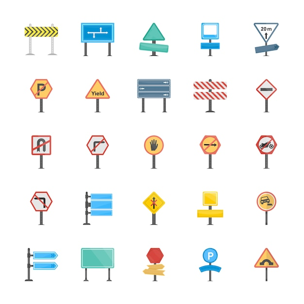 Road signs and junctions flat vector icons collection Premium Vector