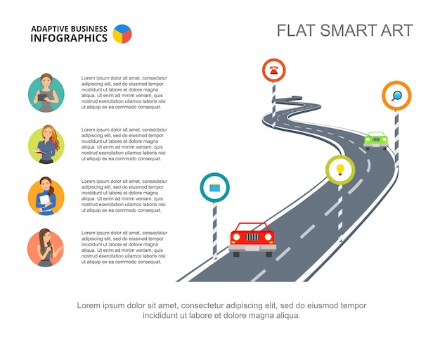 Road signs metaphor process chart template for presentation. Free Vector