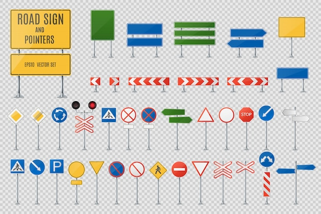 Road signs and pointers realistic vector set Premium Vector