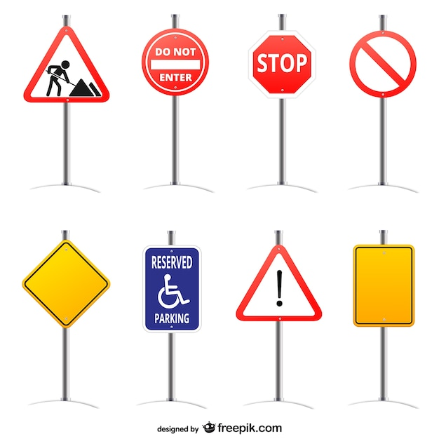Road signs set Free Vector